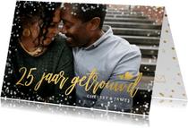 Uitnodiging jubileum 25 jaar getrouwd met goud en confetti