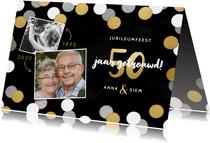 Uitnodiging jubileumfeest 50 jaar getrouwd confetti & foto's