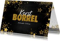 Uitnodiging (kerst) borrel feestelijke kaart met sterretjes