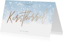 Uitnodiging kerstborrel met waterverf en sneeuw