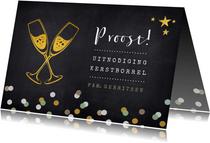 Uitnodiging kerstborrel proost met champagneglazen