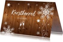 Uitnodiging kerstborrel sneeuwvlokken houtlook