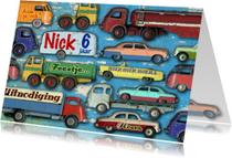 uitnodiging kinderfeest mannenkaart auto