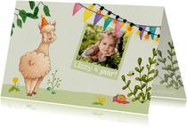 Uitnodiging kinderfeestje alpaca