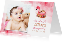 Uitnodiging kinderfeestje flamingo met foto en waterverf