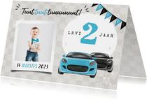 Uitnodiging kinderfeestje jongen 2 jaar auto's blauw foto