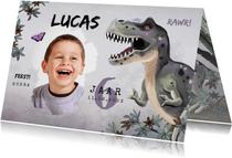 Uitnodiging kinderfeestje jongen t-rex dino jungle