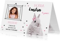 Uitnodiging - Kinderfeestje - Konijntje met roze strikje