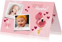 Uitnodiging kinderfeestje lieve flamingo, hartjes en foto's