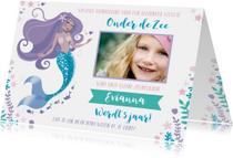 Uitnodiging kinderfeestje meisje zeemeermin zwemmen