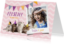 Uitnodiging kinderfeestje met foto en kittens