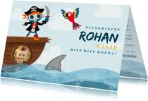 Uitnodiging kinderfeestje met piraten aap, papegaai en haai