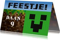 Uitnodiging kinderfeestje Minecraft