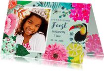 Uitnodiging Kinderfeestje Tropische Bloemen