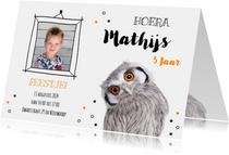 Uitnodiging - Kinderfeestje - Uiltje oranje ogen