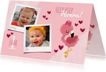 Uitnodiging kinderfeestje voor een tweeling met flamingo