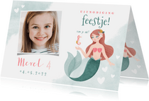 Uitnodiging kinderfeestje zeemeermin, zeepaardje en hartjes