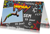 Uitnodiging kinderverjaardag stoer graffiti Party