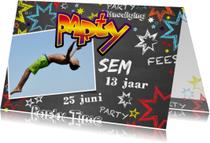 Uitnodiging kinderverjaardag stoer graffiti Party