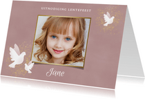 Uitnodiging Lentefeest met duif waterverf en gouden spetters