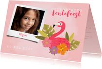 Uitnodiging lentefeest met flamingo, bloemen en foto