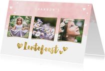 Uitnodiging lentefeest met waterverf, hartjes en foto's