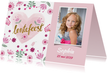Uitnodiging lentefeest roze foto
