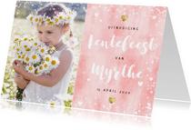Uitnodiging lentefeest roze waterverf gouden hartjes en foto