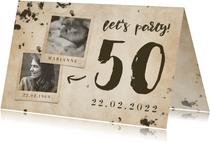 Uitnodiging 'let's party' vintage met foto's en leeftijd