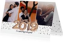 Uitnodiging met het jaartal 2019 goud ballonnen