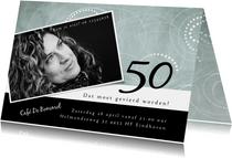 Uitnodiging modern, 50ste verjaardag met cirkelpatroon