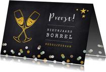 Uitnodiging nieuwjaarsborrel proost met champagneglazen