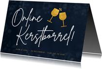 Uitnodiging online kerstborrel met proostende wijnglazen