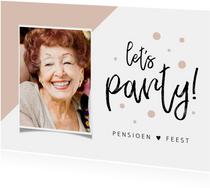 Uitnodiging pensioen hip en stijlvol met foto