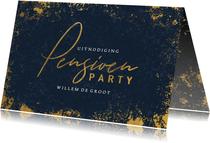 Uitnodiging pensioen met blauwe achtergrond en gouden kader