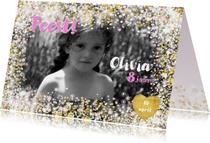 Uitnodiging stijlvolle fotokaart hartjes een bloemen