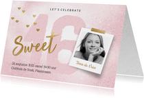 Uitnodiging Sweet Sixteen meisje roze
