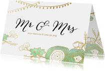 Uitnodiging trouwkaart bruiloft tuin bloemen