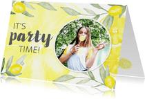 Uitnodiging verjaardag citroen met foto