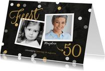 Uitnodiging verjaardag confetti krijtbord foto's