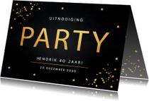 Uitnodiging verjaardag goud confetti typografie