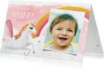 Uitnodiging verjaardag kind met eenhoorn en regenboog