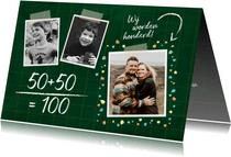 Uitnodiging verjaardag samen 100 jaar fotos op krijtbord
