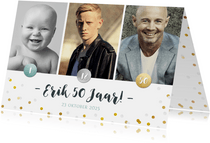 Uitnodiging verjaardagsfeest fotocollage kind tiener 50