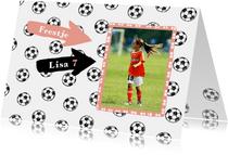 Uitnodiging voetbal feestje meisje