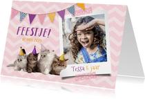 Uitnodiging voor een kinderfeestje foto en kittens