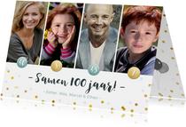 Uitnodiging voor een samen 100 feestje met 4 eigen foto's
