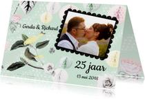 Uitnodiging voor jubileumfeest met vogels en rozen