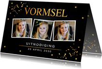 Uitnodiging Vormsel fotocollage gouden confetti