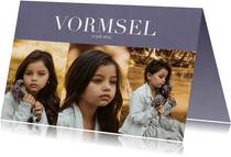 Uitnodiging Vormsel met fotocollage en klassieke letters